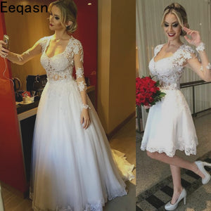 2 in 1 Wedding Dress Lace Applique