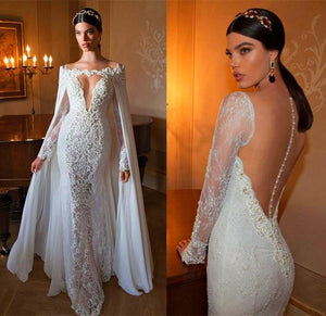 Lace 2018 Beads Long Sleeves With Cape Bride Dress Wedding Gown