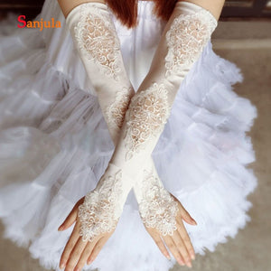 Fingerless  Wedding Gloves Lace Satin Elbow Length