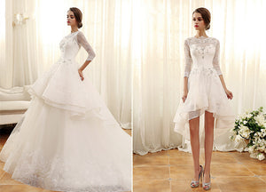 2018 luxury wedding dress lace beads detachable train
