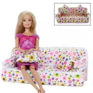 1 Pcs Mini Sofa With 2x Cushions For Barbie Doll House