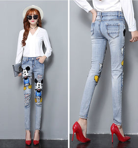 Ripped Jeans With Embroidery  Skinny
