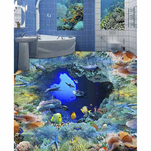 3D Floor  Bathroom Ocean WorldSelf-adhesive Waterproof