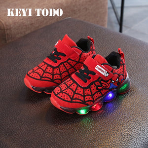 mesh bright light sneakers breathable Spider-Man led children