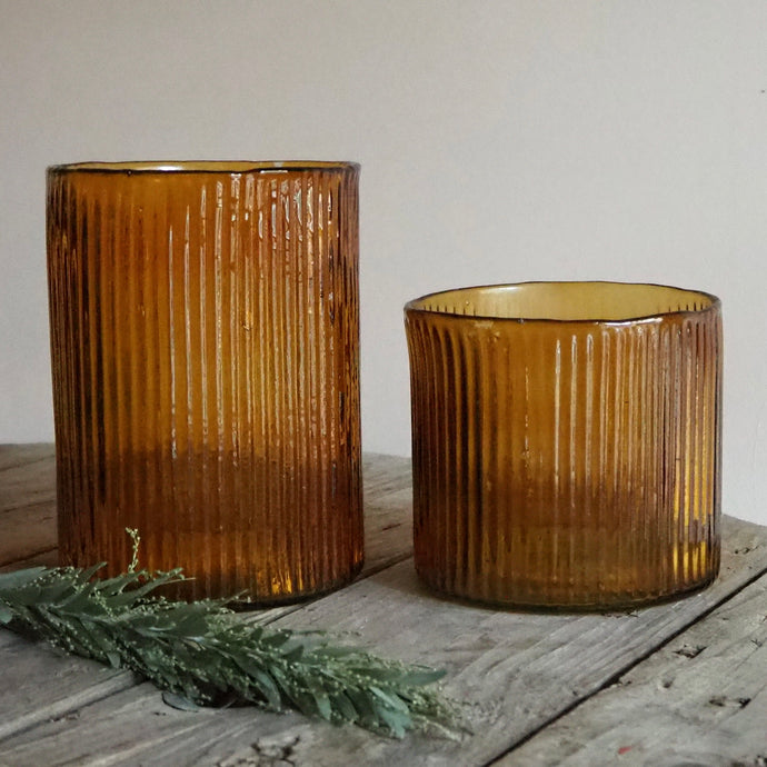 Amber Ribbed Hurricane Vase