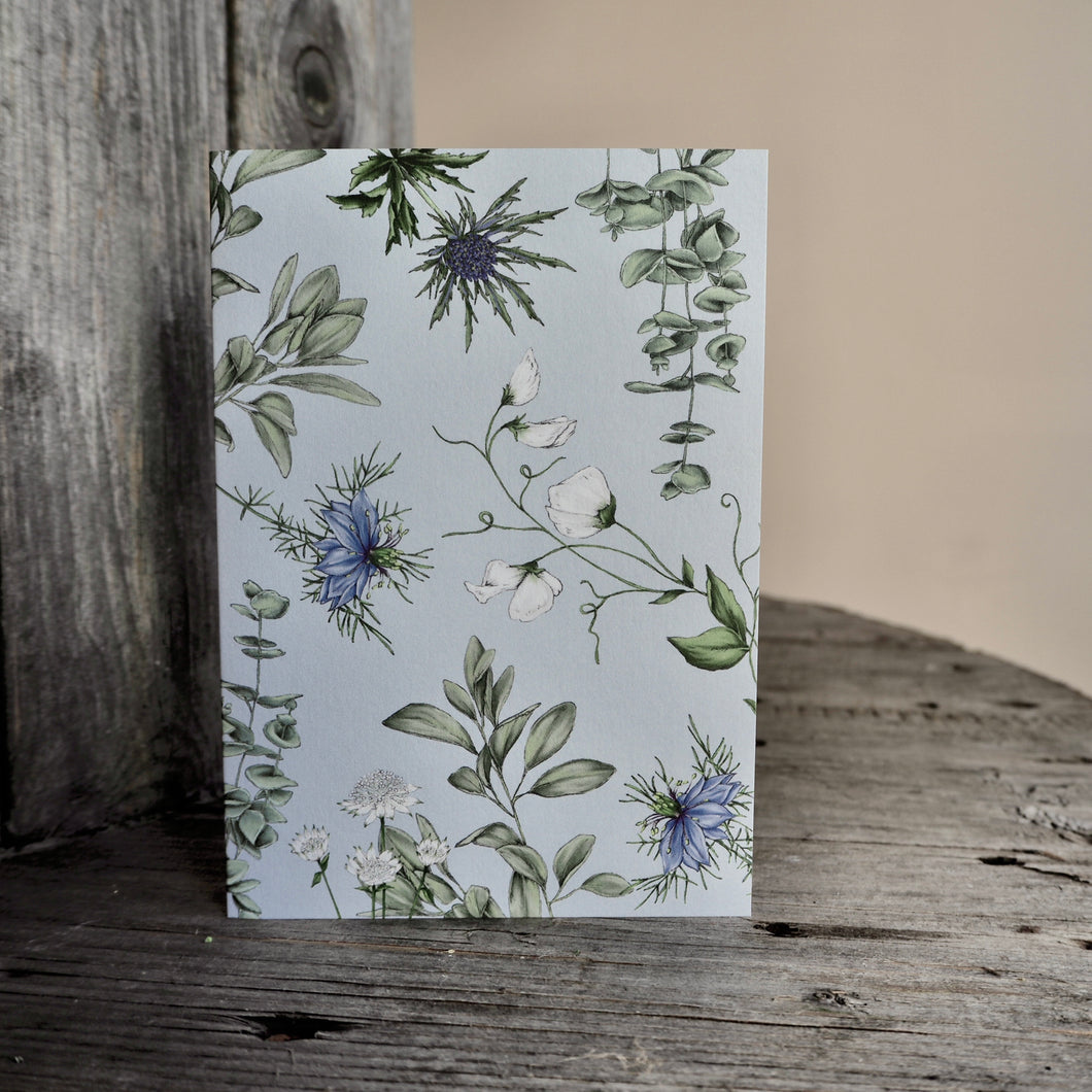 Blue Thistle & Nigella Card