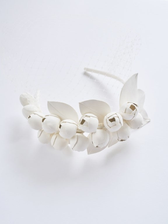 Leather Blossoms Hairband with Veil (Small)