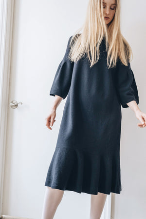 Wool Dress - Navy