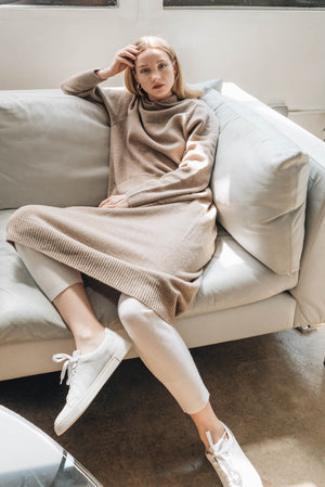 Hood Sweater Dress - Taupe