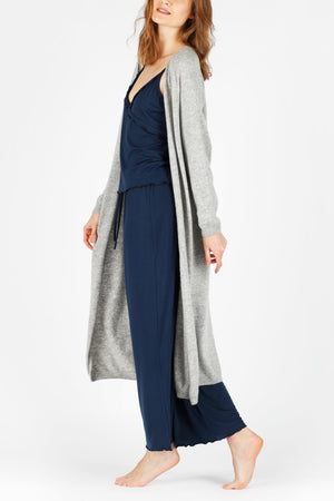 Grey 3D-printed Cashmere Long Cardigan