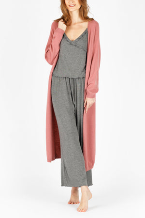 ELMNTL NYC Women's Luxury Sleepwear Loungewear - Pink Long Sweater Cardigan