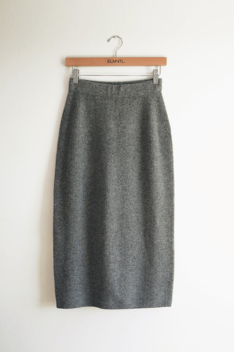 Soft Midi Skirt -Grey