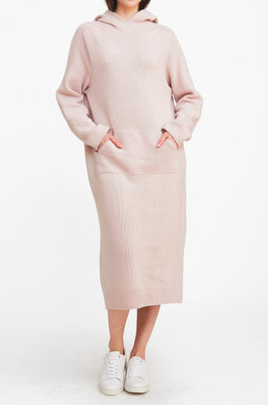 Hood Sweater Dress - Pink