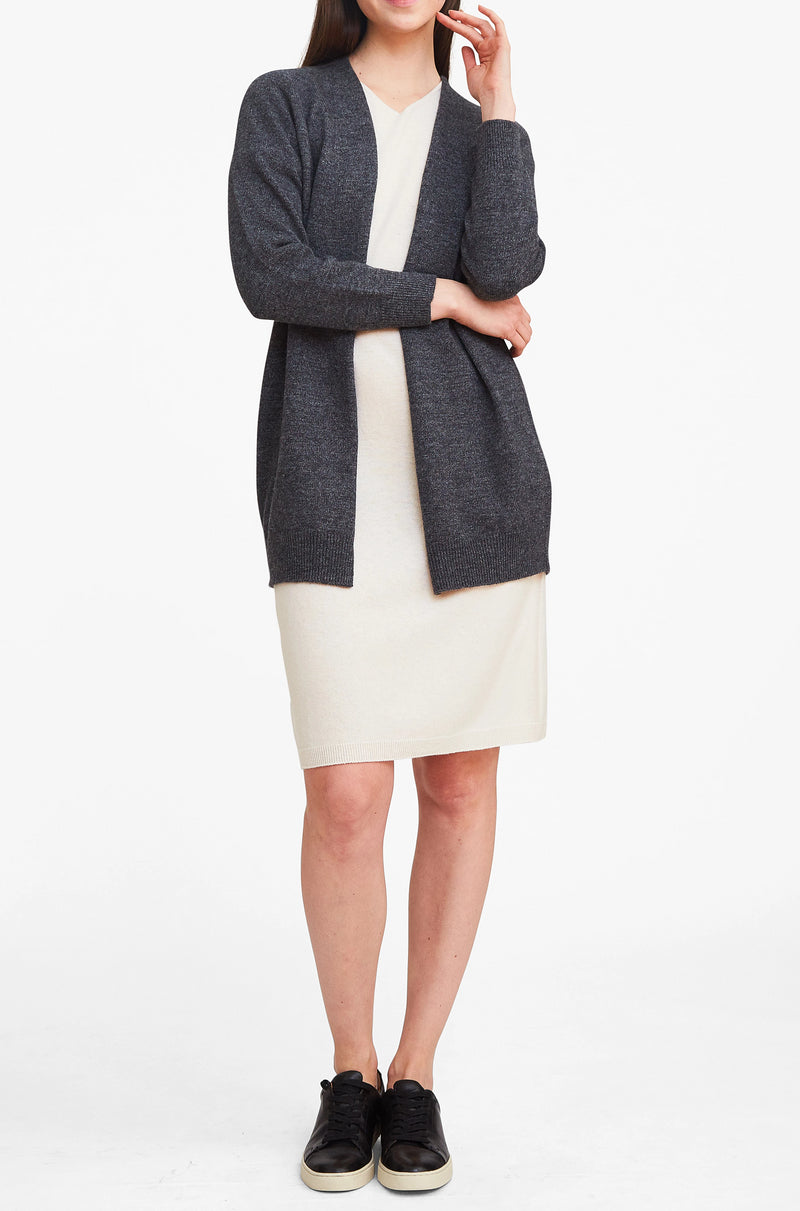 Effortlessly Chic Open Cardigan - Charcoal