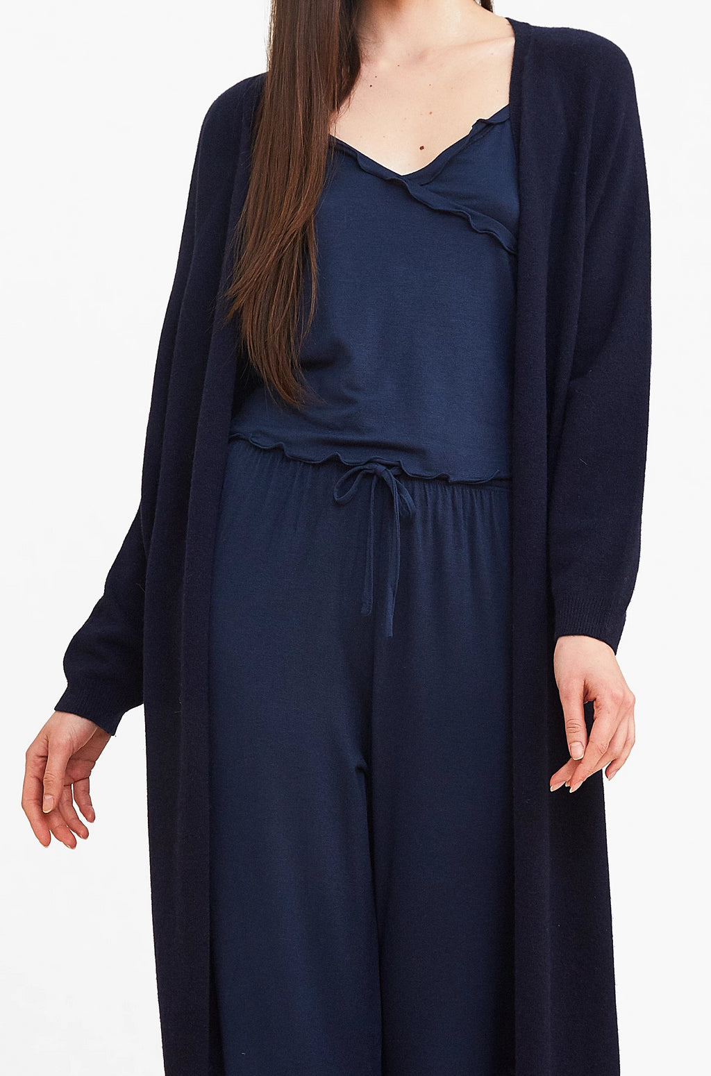 Navy Cashmere Long Cardigan
