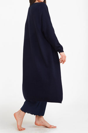 Navy 3D Printed Cashmere Long Cardigan