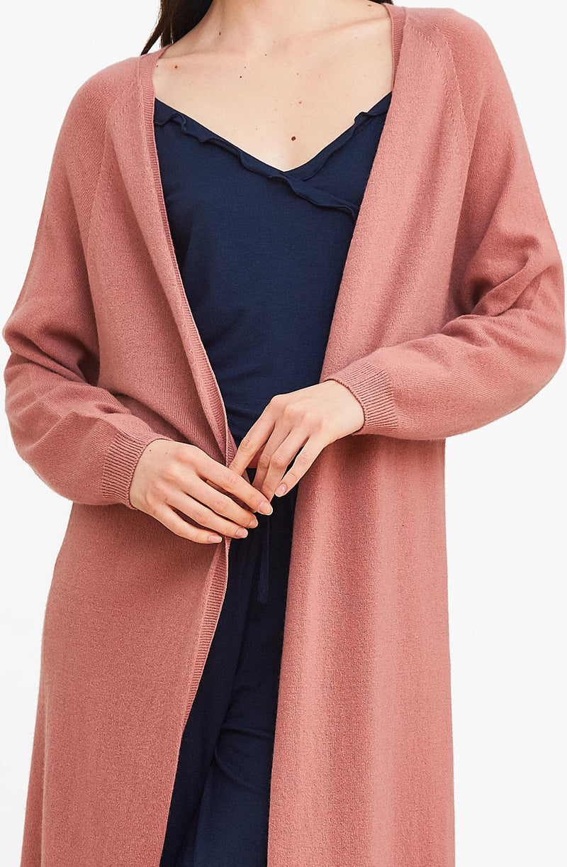 Pink 3D Printed Cashmere Long Cardigan