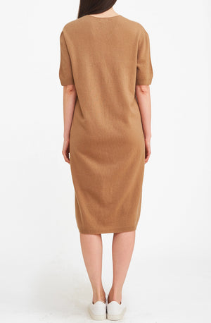 3D Printed Cashmere Dress - Camel
