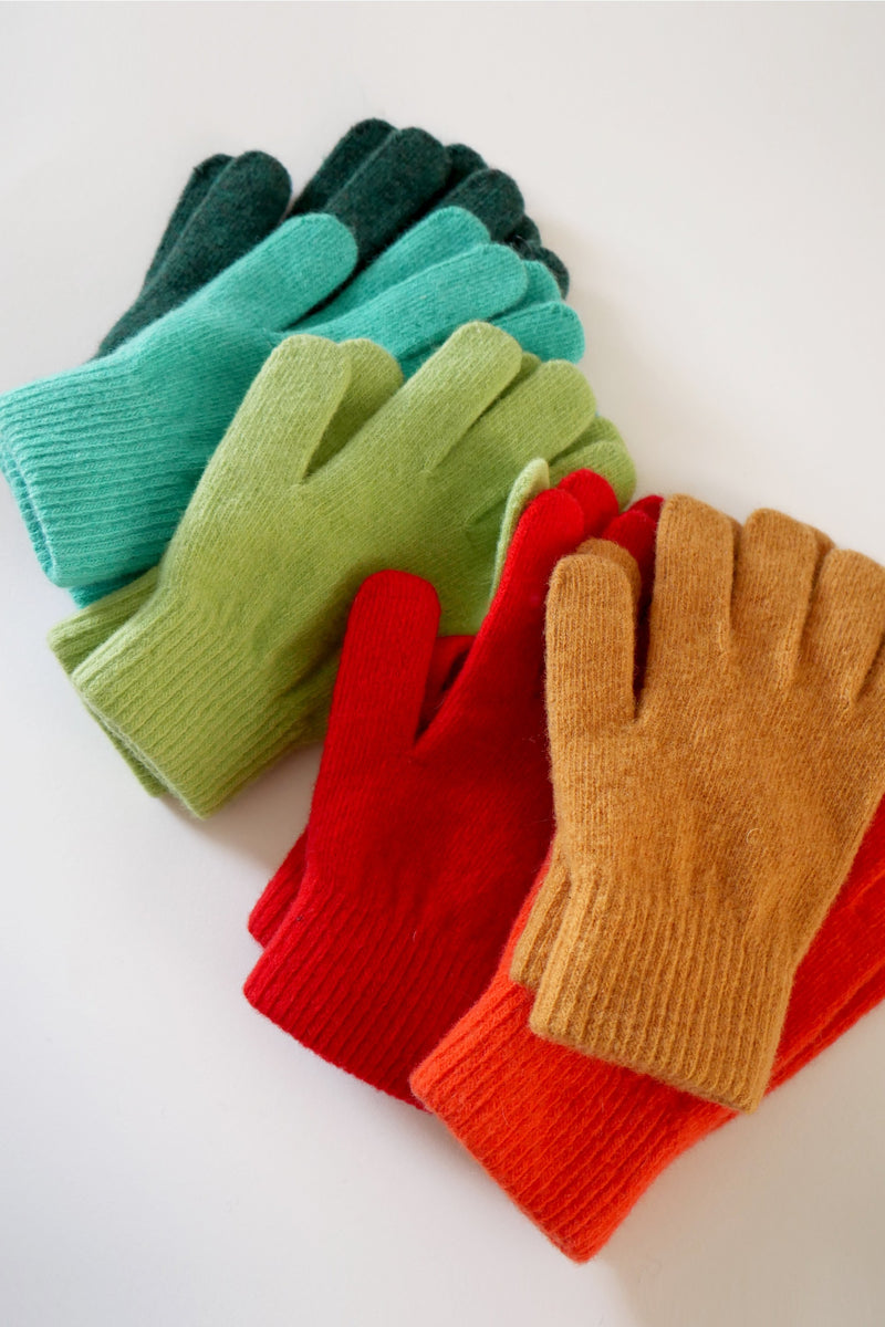 Wool Gloves - Lime Green
