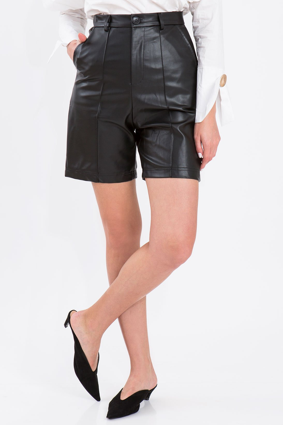 BLACK FAUX SHORTS