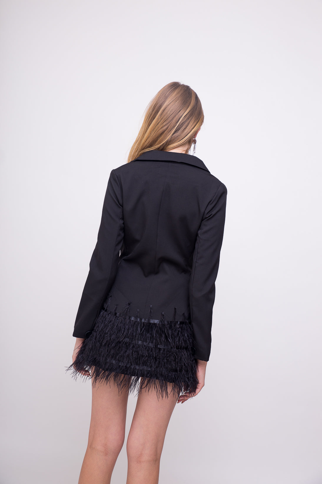 elegant black jacket dress with feather fringe details