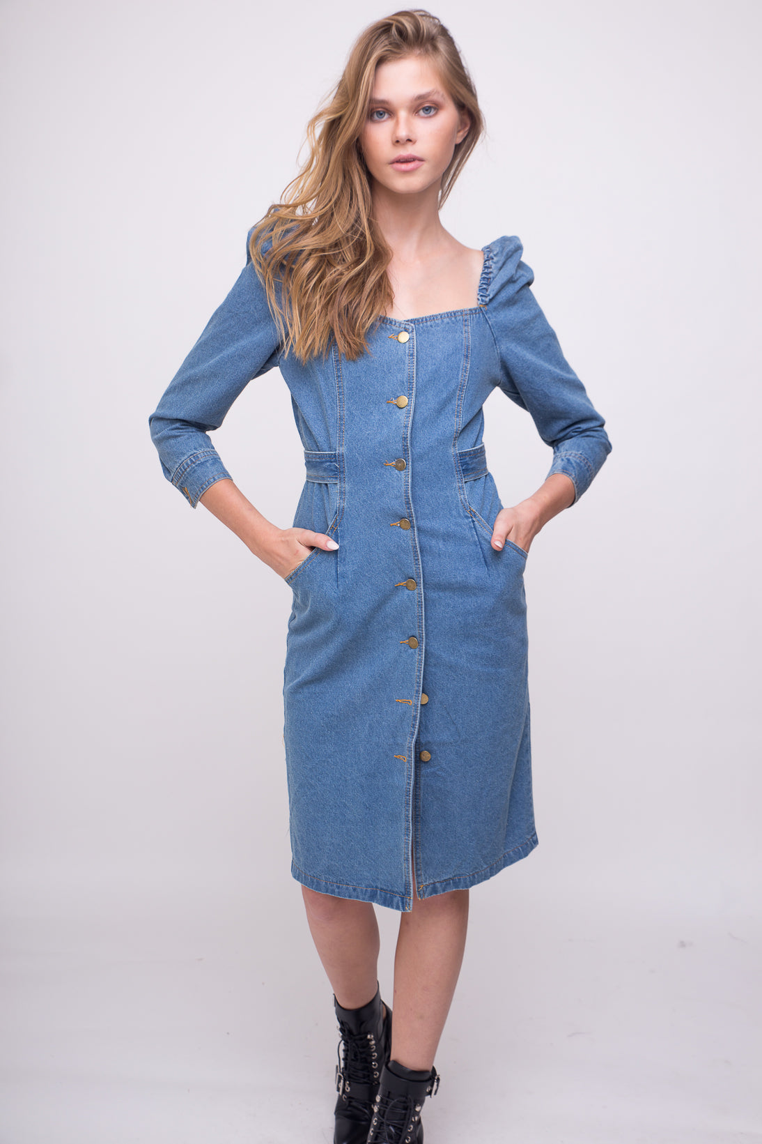 Long sleeve button down impact shoulder denim dress.