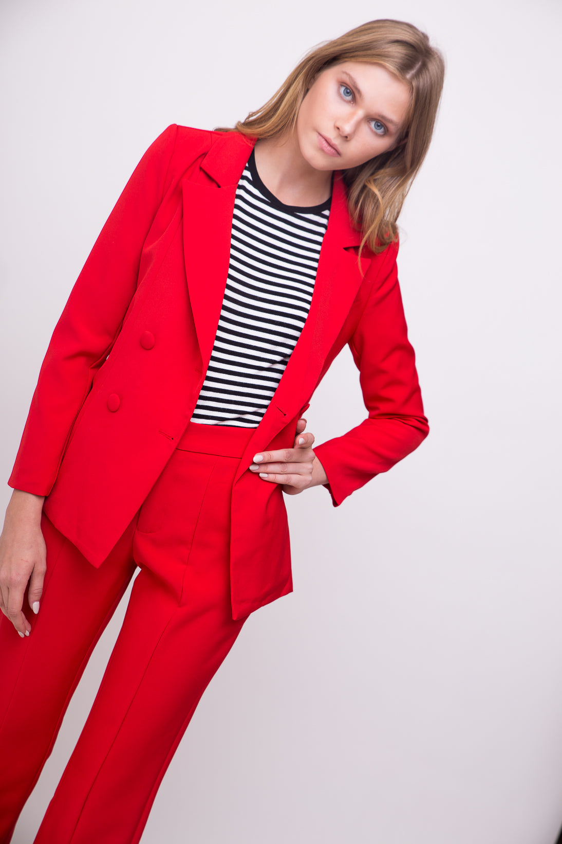 Hot red tailored suit jacket.