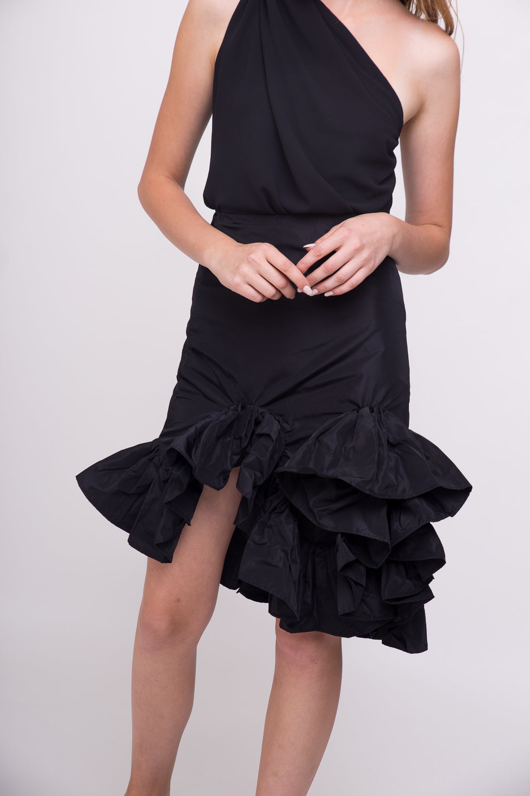 Showstopping black short ruffle skirt.