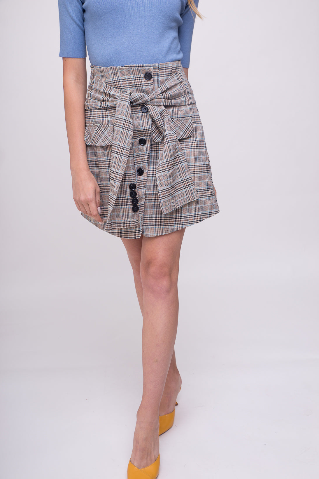 Smart, elegant, casual plaid mini skirt.