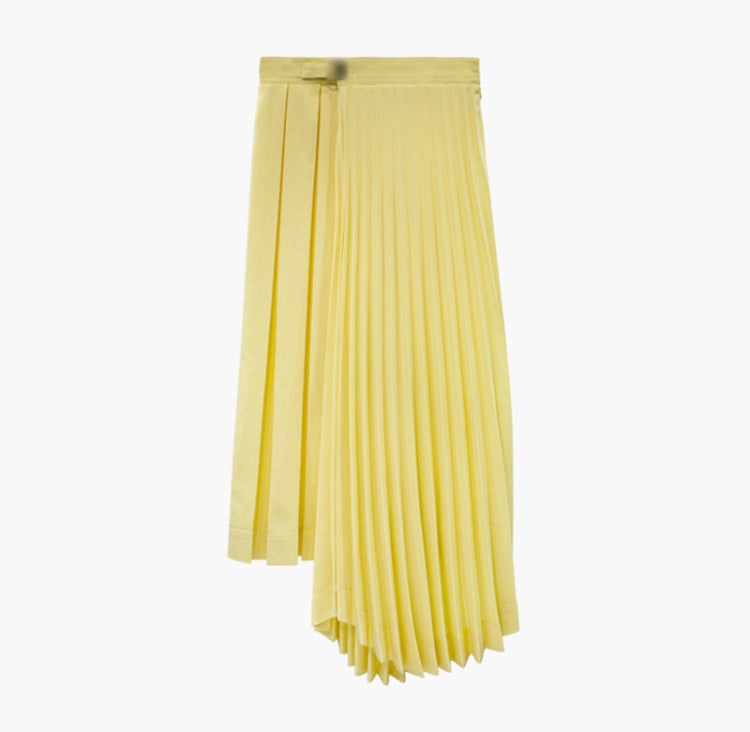smart and elegant a-symmetrical pleated skirt