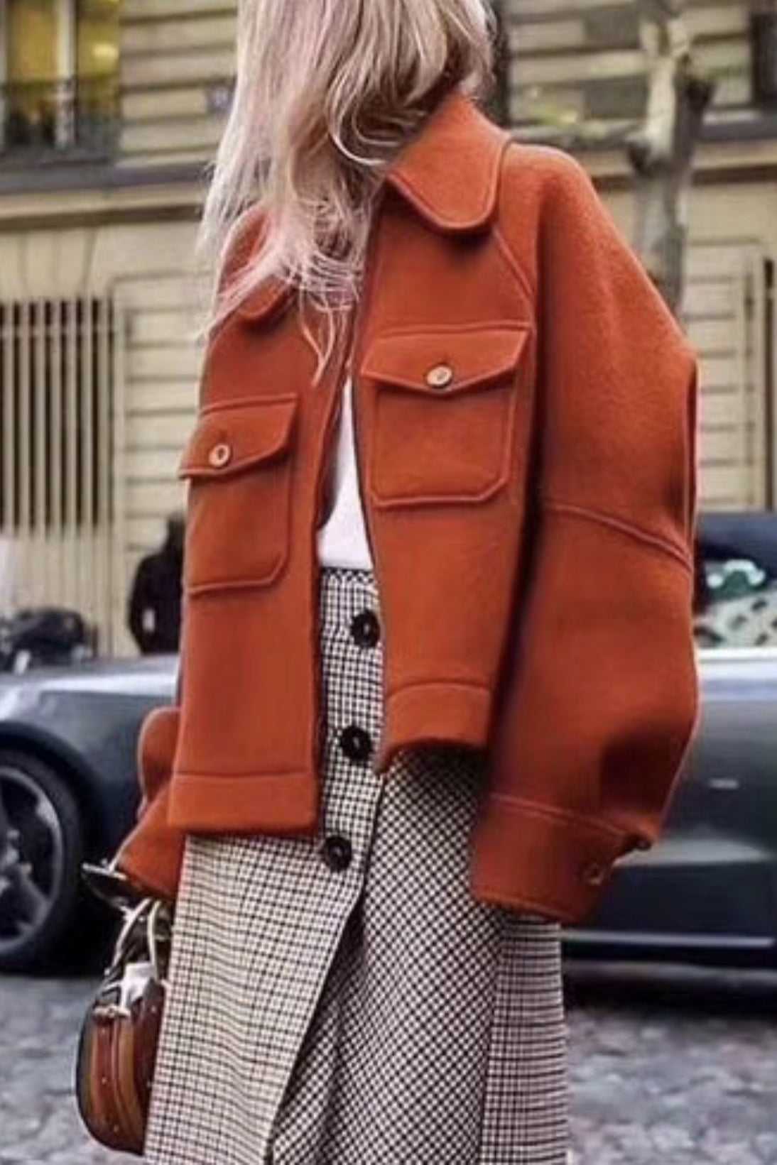oversize rust orange poncho coat