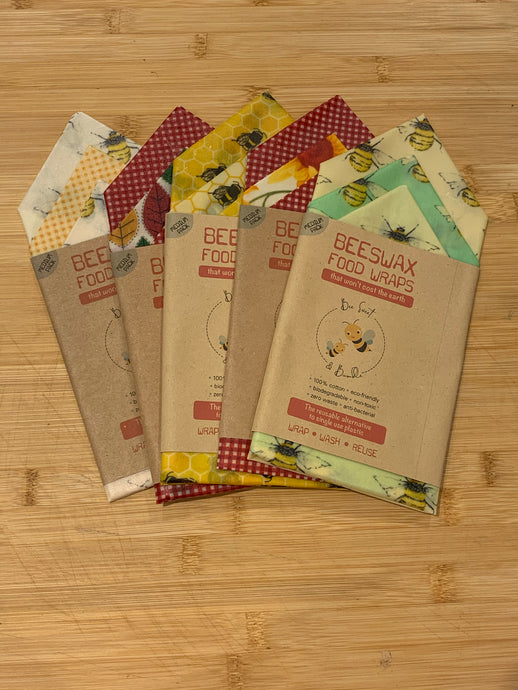 Beeswax Food Wraps - MEDIUM PACK-  (Three 25cm x 25cm food wraps).   Perfect for cheese!