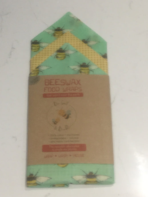 Beeswax Food Wraps - Large pack (three 35cm x 35cm food wraps)