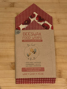 Beeswax Food Wraps - LUNCH PACK  - Three wraps -  (one Small 16cm x 16cm, one Medium 25cm x 25cm, and one Large 35cm x 35cm)