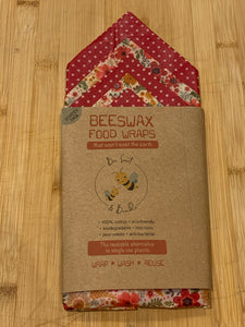 Beeswax Food Wraps - STARTER  PACK - Five wraps- (two Small 16cm x 16cm, one Medium 25cm x 25 cm, one Large 35cm x 35cm, and one Extra Large 40cm x 40cm)