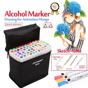 Art Markers Set Alcohol Based Ink Sketch Marker Pen For Artist Drawing Manga Animation Supplies 30/40/60/80/168 Colors