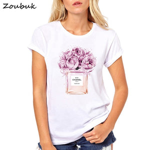 Summer Tops Women Floral Perfume T Shirt camisetas mujer Fashion Ladies O-Neck Short Sleeve Tops White High Quality T-shirt