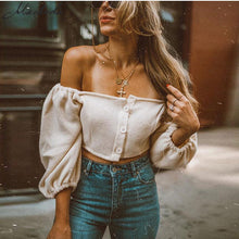 Load image into Gallery viewer, Women's fashion shirt Off the shoulder, half tank top, sleeves, summer, casual, solid color