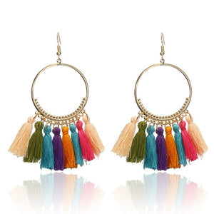 Earrings Bohemian Handmade Statement Tassel Earrings For Women Vintage Round Drop Ethic Earrings Wedding Bridal Fringed Jewelry