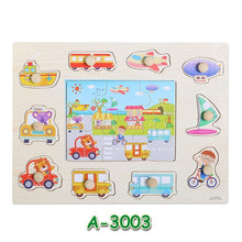 Load image into Gallery viewer, Baby Learning Toys Montessori Wooden Puzzle Hand Grab Board Early Educational Toy Cartoon Vehicle/ Marine Animal Puzzle Kids