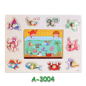 Baby Learning Toys Montessori Wooden Puzzle Hand Grab Board Early Educational Toy Cartoon Vehicle/ Marine Animal Puzzle Kids