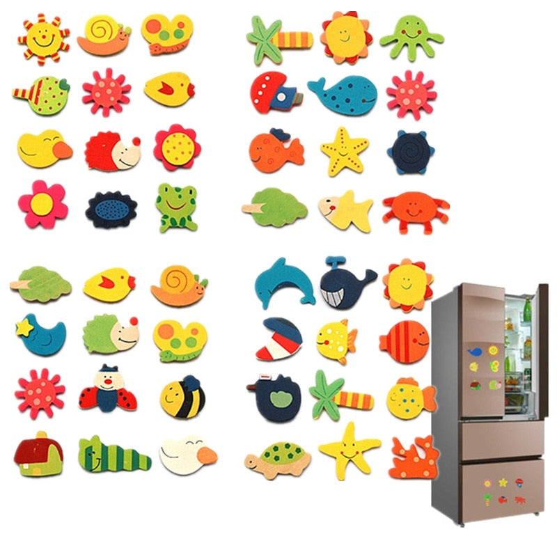 Wooden Refrigerator Magnet Fridge Stickers Animal Cartoon Colorful Kids Toys for Children Baby Educational 40% OFF 12pcs/lot
