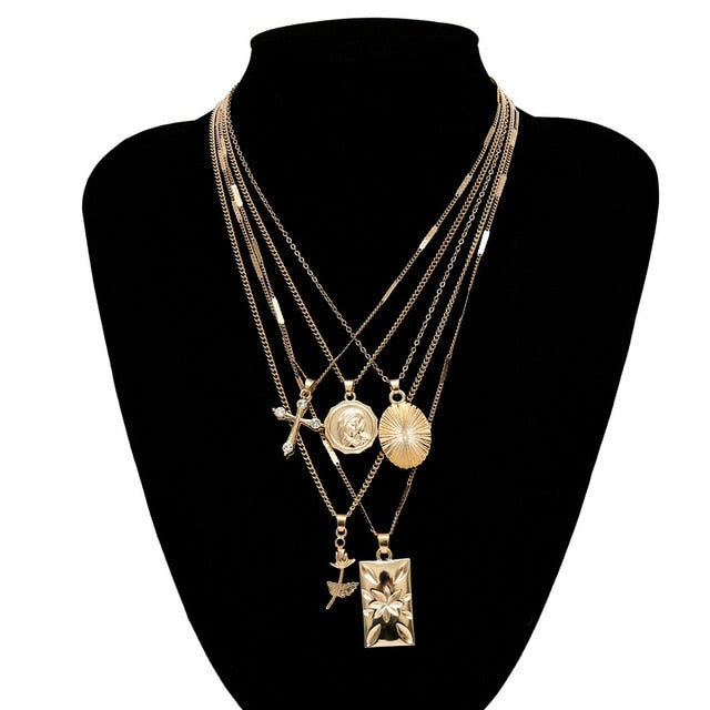 Chain Necklace with Pendant Set Boho Golden Carved Coin Image Long Chain Necklace Christian Women Gift