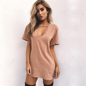 Tshirt V-neck Summer Dresses Short Sleeve Casual Sexy Loose  Plus Size