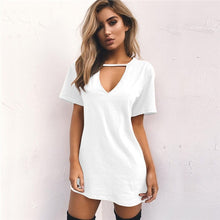 Load image into Gallery viewer, Tshirt V-neck Summer Dresses Short Sleeve Casual Sexy Loose  Plus Size
