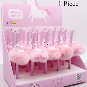 Pink Flamingo Gel Pen Beautiful Plush Swan Pens For School Writing Girl Gifts Neutral Pens School Supplies Stationery 1pc