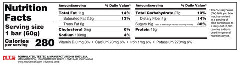 Outright Bar Oatmeal Raisin Nutrition Facts