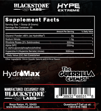 Hype Extreme Supp Facts