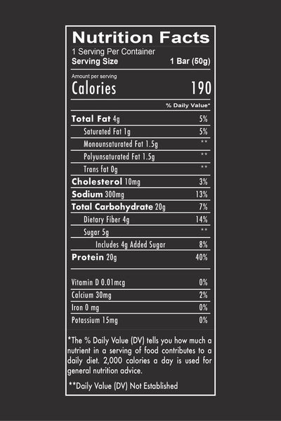 RedCon1 B.A.R. Nutrition Facts