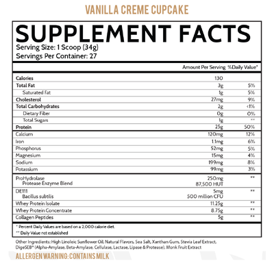 Inspired Nutraceuticals Protein+ Vanilla Creme Cupcake Supplement Facts
